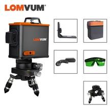 LOMVUM láser 3D nivel negro 12 líneas Vertical Horizontal verde láser 360 grados soporte de pared rotativo trípode disponible