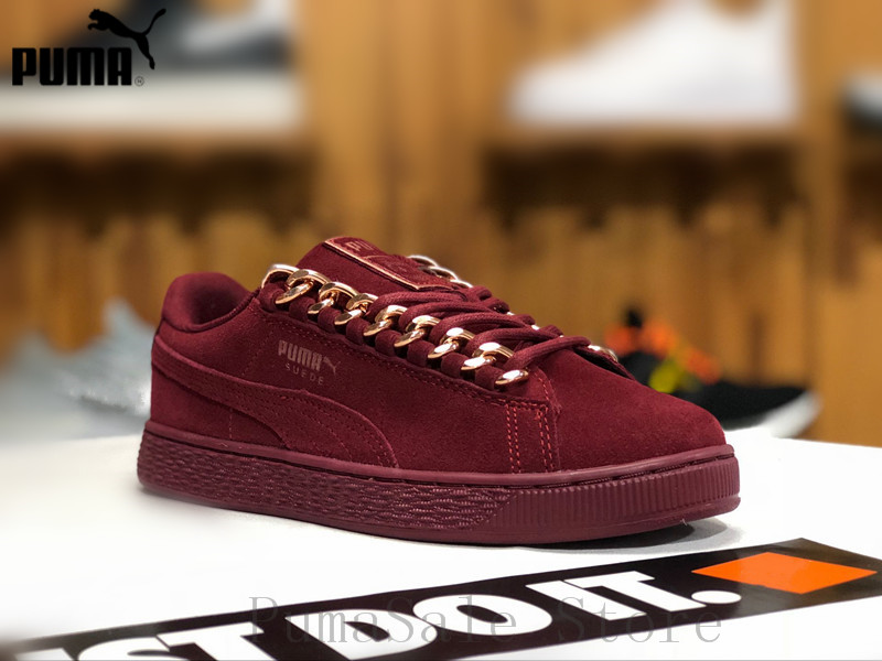 7ad77df98f5 2018 New Arrival Puma Suede Classic X Chain Womens Sneakers Natural 367352  03 Red Sneakers Wn s