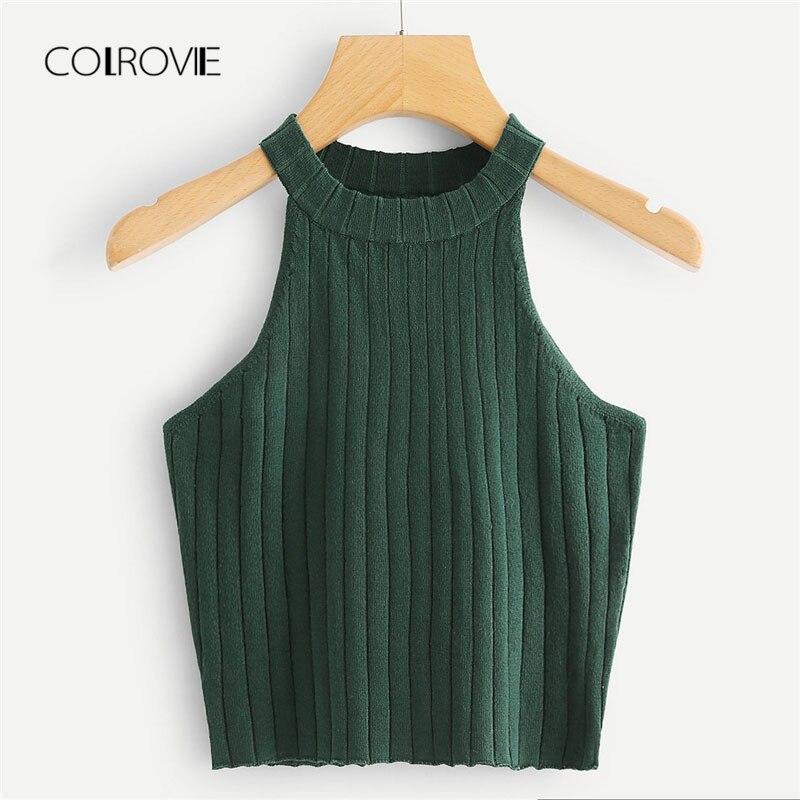 COLROVIE 2018 New Summer Rib Knit Halter Camisoles Top Green Slim Fit Elegant Women Clothing Tank Top Summer Plain Crop Top