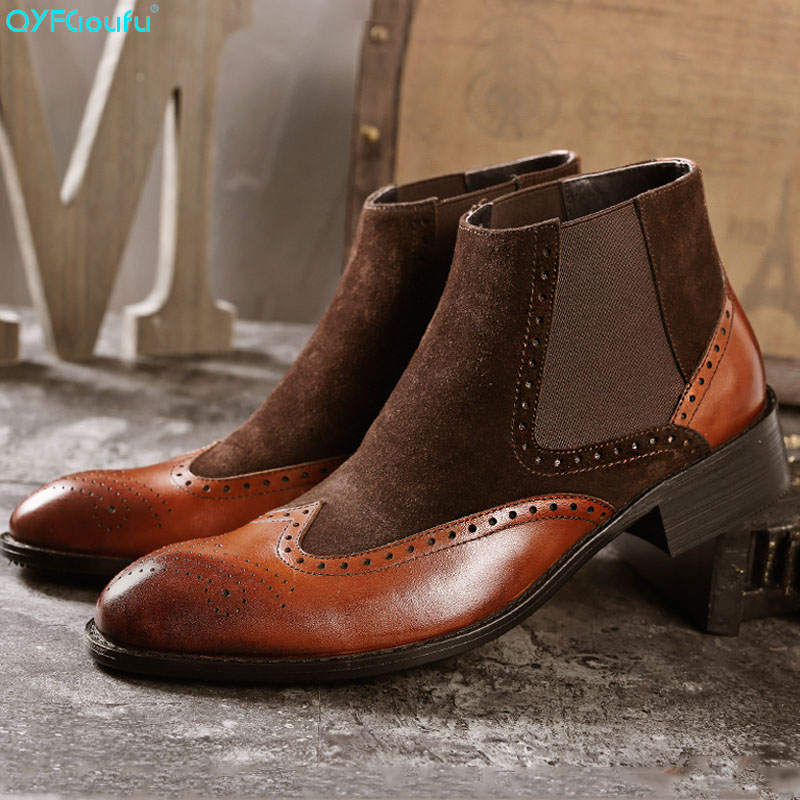 QYFCIOUFU Mens Handmade Chelsea Boots 2019 Suede Splice Boot Male Vintage Brogue Luxury Shoes Slip-on Dress