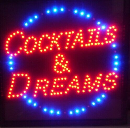 led 2017 hot sale 10x19 inch indoor ultra bright cocktails and dreams store neon light signs in. Black Bedroom Furniture Sets. Home Design Ideas