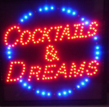 Led- 2017 hot sale 10X19 inch indoor Ultra Bright Cocktails AND Dreams store Neon light signs