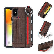 Multifunction PU Leather Phone Case Cover With Card Pocket Slots Wrist Strap Band for iPhone X XS MAX XR protective pu leather case cover w card slots strap for iphone 5c purple