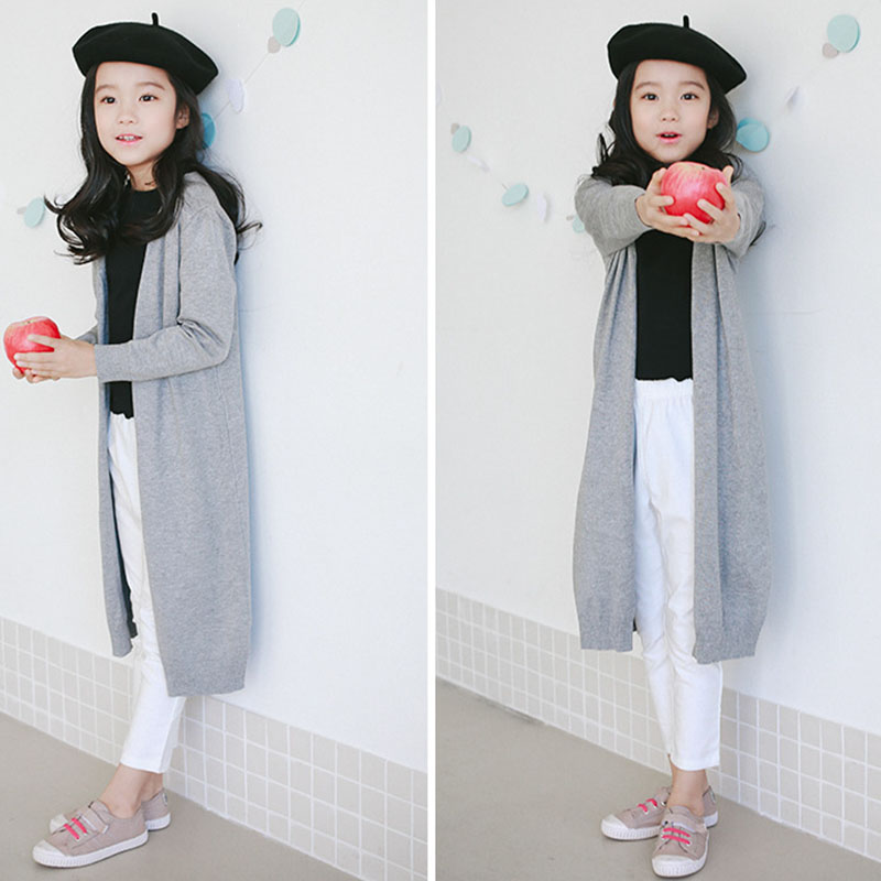 2017 new knitted girls cardigan coats spring autumn long knitting baby big girls sweater red gray black long tops knit sweater  Счастье