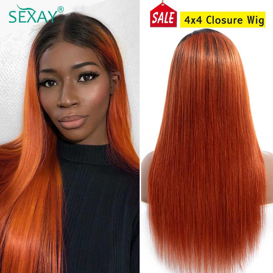 Perucas do cabelo humano de ombre do cabelo humano para o cabelo humano da peruca sem cola do fechamento da peruca 1b/350 do fechamento do laço da laranja 4x4 de sexay