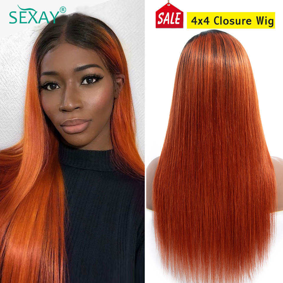SEXAY Orange 4x4 Lace Closure Wig 1b/350 Malaysian Straight Hair Ombre Human Hair Wigs For Women Glueless Closure Wig Human Hair