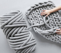 1KG 100% Cored Cotton Chunky Yarn Wool Yarn Washing Machine Cleaning DIY Hand Knitting Knotting Blanket Pet Nest Carpet