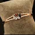 2016 Austrian Crystal Jewelry Swan Bangle Cuffs European Style Popular Rose Gold Plated Animal Love Bracelet For Women Wristband