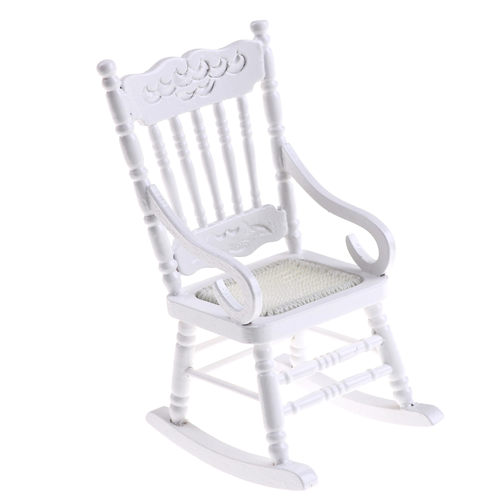 Toyzhijia 1pcs 1:12 Scale Mini Wooden Rocking Chair Dollhouse Miniature Furniture Hemp Rope Seat For Dolls House Accessories Furniture Toys