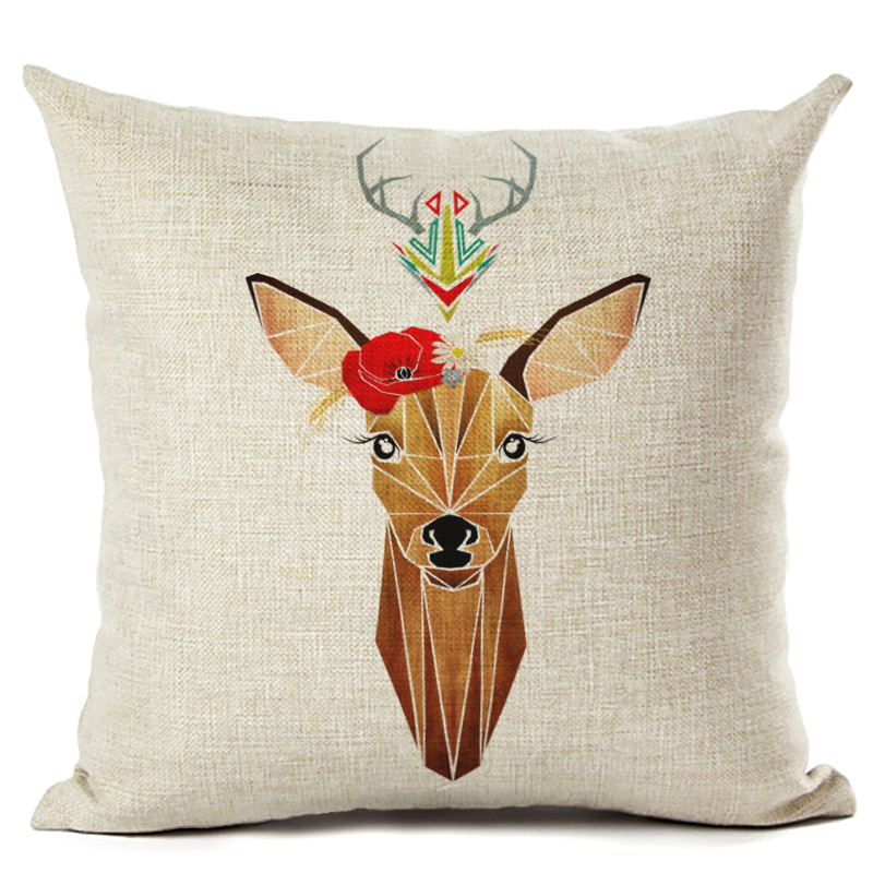 Cartoon Elk Pillowcase Cushion Cover Pillowcase Square Pillowcase Office Car Sofa Merry Christmas Decoration F
