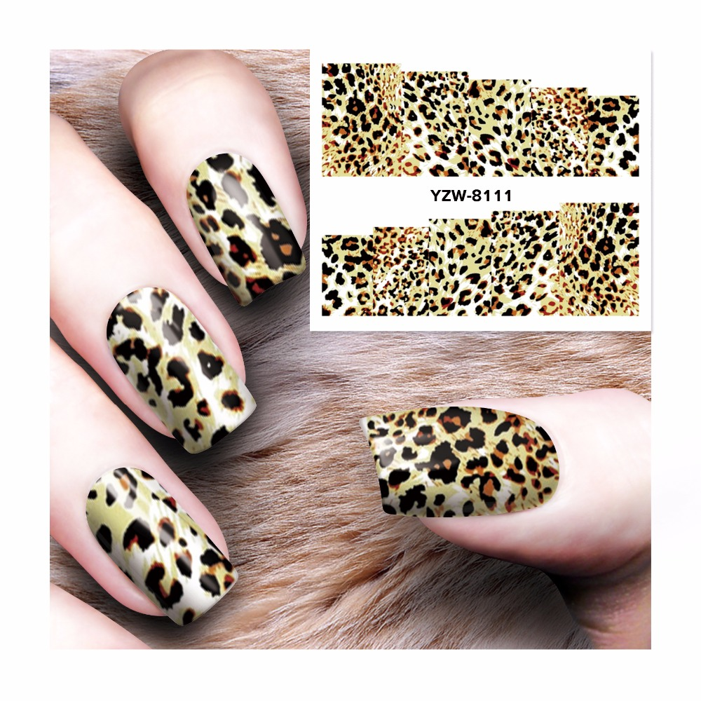 Diy Snow Leopard Nail Art: YWK 1 Sheet DIY Ornaments On Nails Water Decals Leopard
