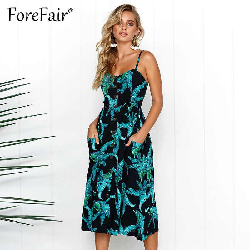2955eb61b328a1b Forefair Boho печати Ретро летнее платье 2019 XXXL плюс размеры женский  сарафан Сексуальная Спагетти кнопка для