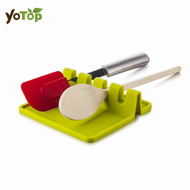 YOTOP Silicone Spoon Rest Soup Spoon Holder Stand for Kitchen Organizer Tool Cooking Utensils Shelf Kitchen Storage Accessories