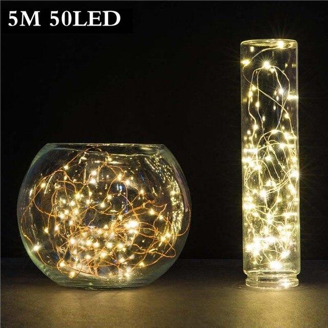 5 м 50 LED 3xAA Батарея работает Гирлянды светодиодные огни на Рождество гирлянда партия Свадебные украшения Рождество мигалкой Фея огни