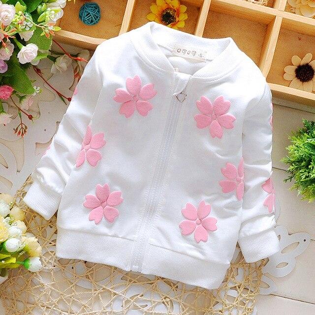 Продажи! 2016 весной и осенью новорожденного ребенка пальто детская одежда бренда девушки цветка куртка свитер Бесплатная доставка 1-2 лет