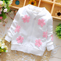 Venta! 2016 de primavera y otoño recién nacido bebé suéter chaqueta de la capa de la marca de ropa para niños niña de las flores Envío Libre 1-2 años