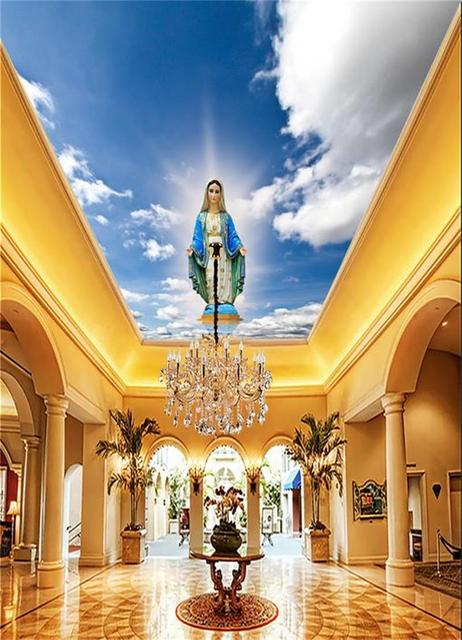 custom size 3d photo wallpaper living room ceiling mural clouds Mother of  God angel 3d painting