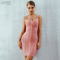 Adyce 2019 New Summer Pink Women Bandage Dress Vestido Celebrity Runway Party Dress Sexy Spaghetti Strap Hollow Out Runway Dress