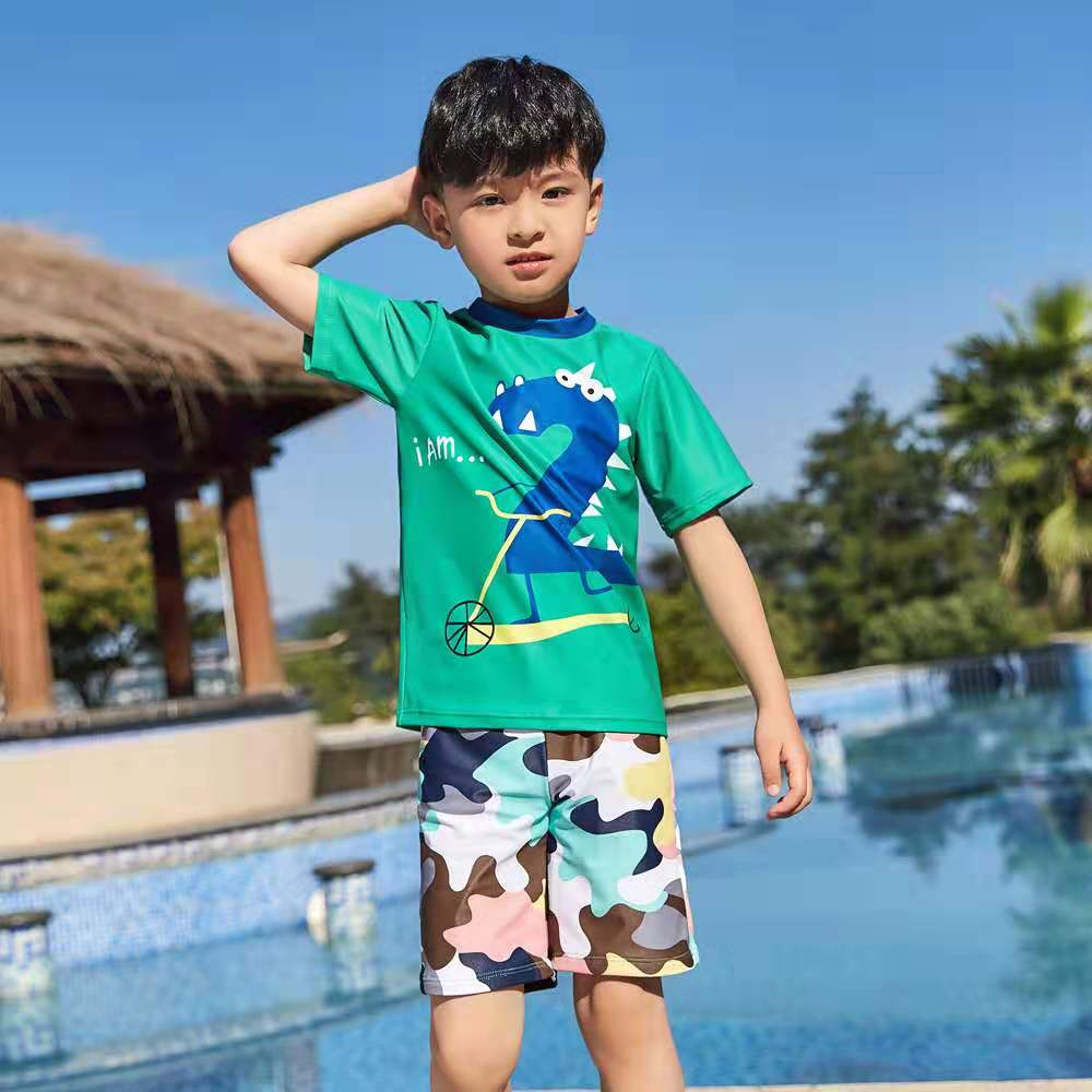 Children Swimsuit Two Pieces Separate Swimwear Boys Short Sleeve Shirt Trunks Clothing Set Rash Guard Swimming Suit