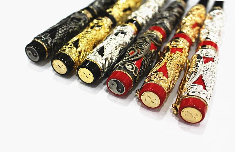 Fountain Pen Dragon / Loong & Phoenix Antique Silver Fine nib Fountain Pen Screw Cap classic antique shanghai hero 330 dragon phoenix hand carved patterns arrow fountain pen aluminum shell
