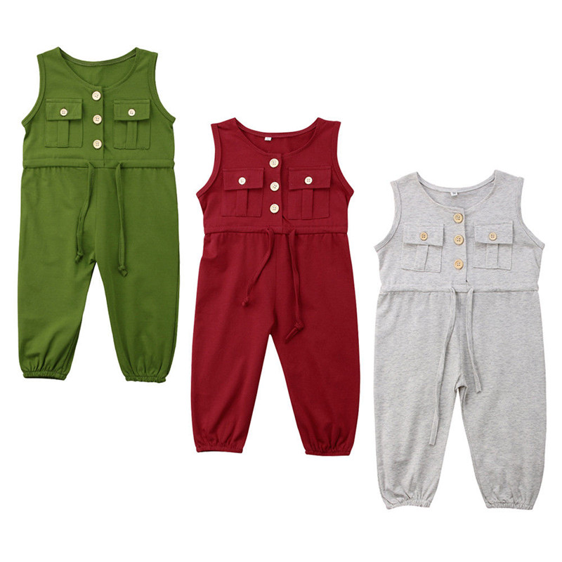 Summer Children Overalls New 2018 Fashion Baby Girl Strappy Romper Sleeveless Button Jumpsuits Long Jumper Trousers Kids Clothes