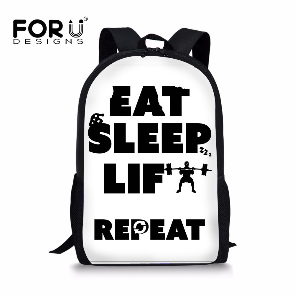 91d20f144e FORUDESIGNS 2018 Orthopedic Schoolbag Eat Sleep Life Repeat Print Teenagers  Girls School Backpacks Book Bag Children In Primary -in School Bags from  Luggage ...