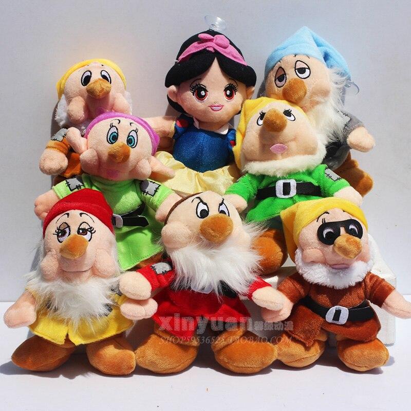 """送料無料8ピース/セット20センチを白雪姫プリンセスと8 """"七人の小人ソフトぬいぐるみ人形のおもちゃセット用誕生日ギフト  グループ上の おもちゃ & ホビー からの ぬいぐるみ & フラシ天 動物 の中 1"""