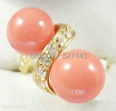 ขายส่งSIPPฟรี>คู่สีชมพูคอรัลลูกปัดสีเหลืองหินแหวนคริสตัลขนาด: 7.8.9