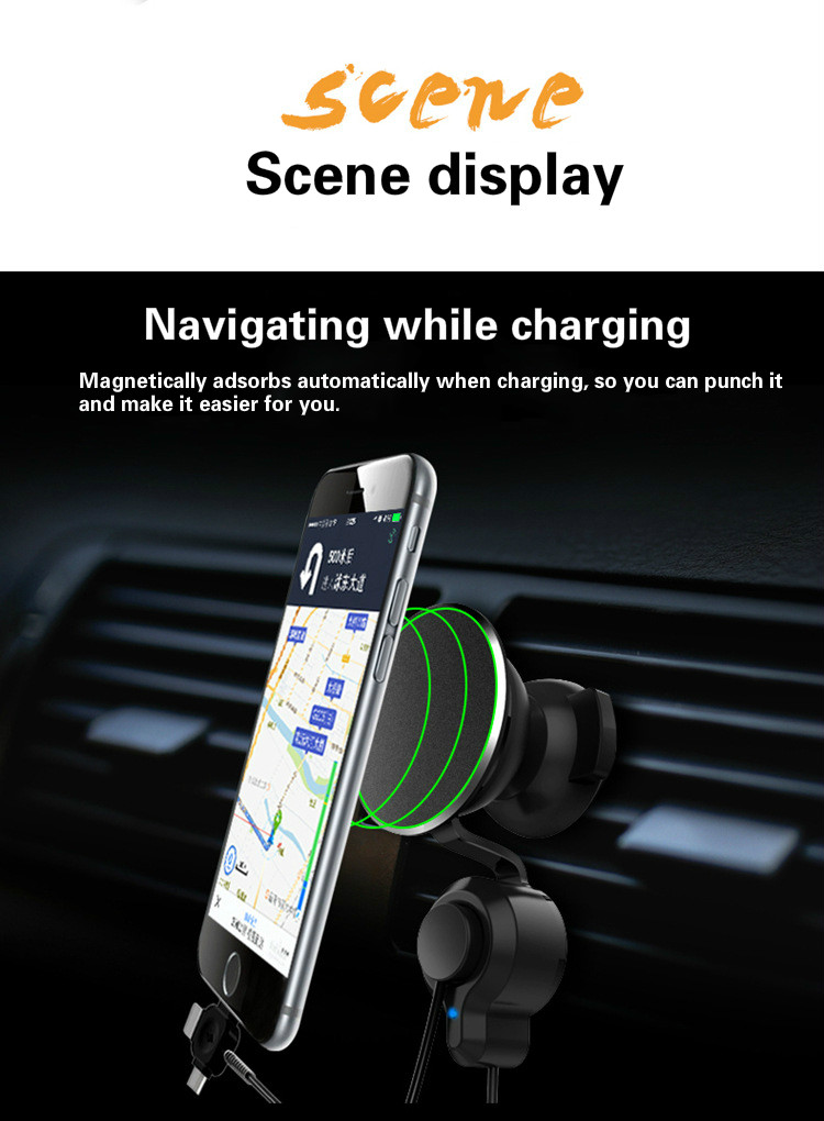 Car Phone Holder Nano Micro Suction Tape Charging Line One-hand Operation 360 Degree Rotating Bracket for iPhone Andriod Аппаратный порт