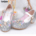 Spring Children Dance Shoes Girls High Heels Fantasy Shoes Students Gold Silver Kids Four Color Girls Casual Princess Shoes