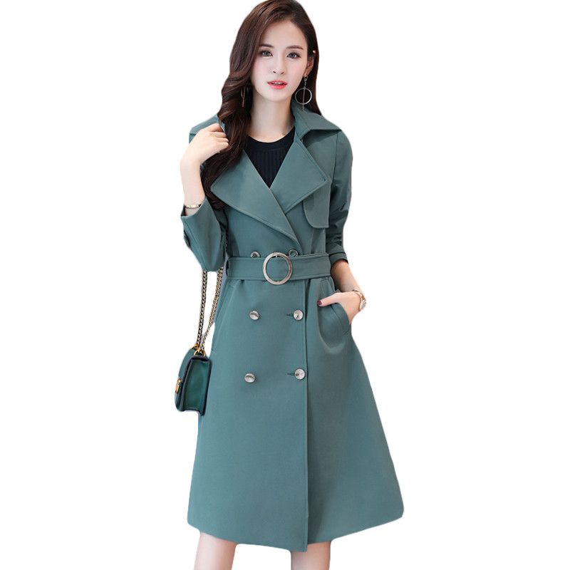 2019 Autumn Women Vintage Long   Trench   Coat Plus Size Double-breasted Elegant Adjustable Waist Belts Casual Outerwear Spring X863