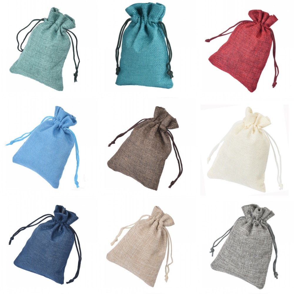 10pcs 9.5cm*14cm Solid Burlap Jute Sack Bag Drawstring Gunny Candy ...