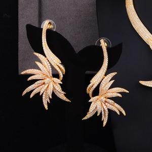 Image 3 - GODKI Luxury Palm Tree Leaf Nigerian Choker Jewelry sets For Women Wedding Cubic Zircon CZ Dubai Gold Bridal Jewelry Set 2019