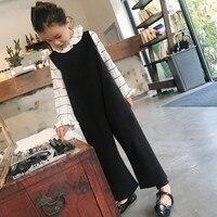 Girl's jumpsuit Big girl black nine wide leg pants