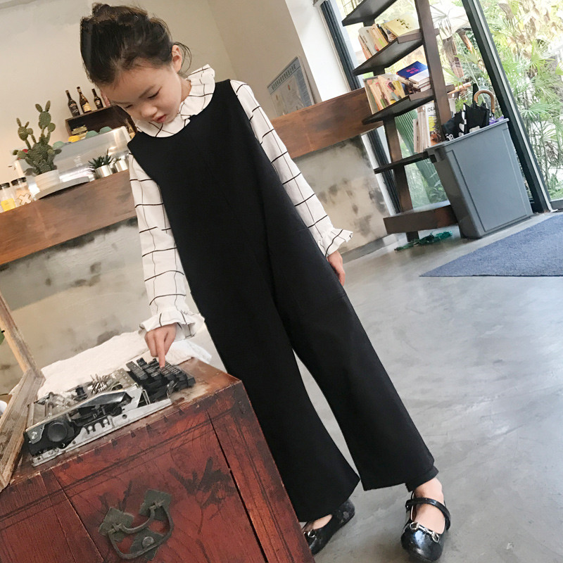 Girl's jumpsuit Big girl black nine wide leg pants striped self tie wide leg pants