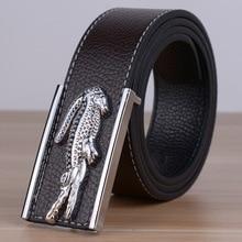 2016 New Arrival Mans Pu Leather Belt Causual Leather Belt Men Luxury Brand Designs Cowhide Straps Crocodile logo Buckle Belt