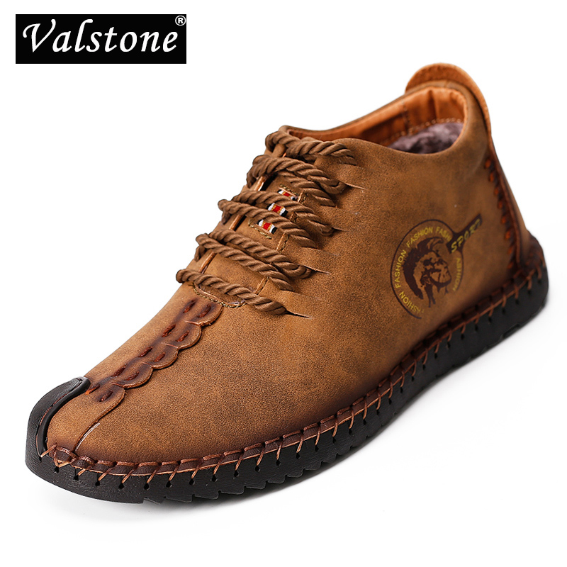 Valstone Super Winter Boots For Men Vintage Leather Sneakers XL Size 48 Retro Frosty Boots High-Top Winter Shoes Autumn Optional