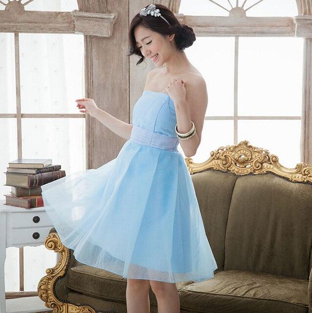 Simple elegant sky blue bridesmaid dresses wedding party dresses ...