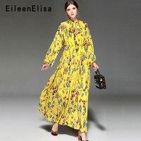 Элегантные длинные Платья для вечеринок взлетно посадочной полосы печатных платье 2018 новые модные женские туфли Осень