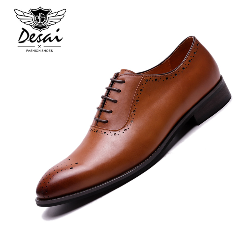 US $60.56 43% OFF|Men's High Quality Oxfords Shoes British Style Carved Genuine Leather Shoe Brown Brogue Shoes Lace Up Bullock Business Men Flats in