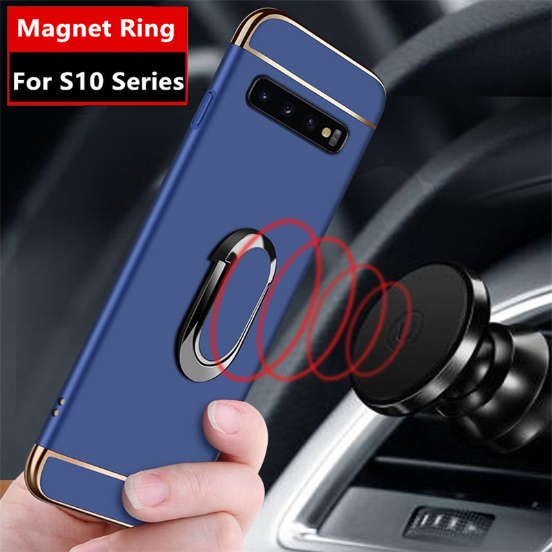 For Samsung Galaxy S10 Plus Luxury Magnetic Ring Ultra Thin Matte Hard PC Holder Phone Case for Samsung S10e S10 Lite Cover Coqa in Fitted Cases from Cellphones Telecommunications