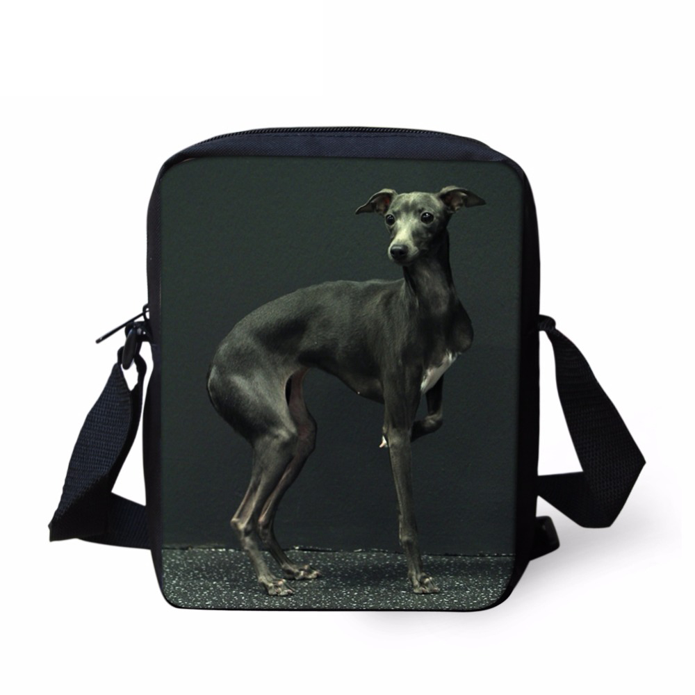 Embroidered Greyhound Dog Zipper Tote Bag Whippet Galgo