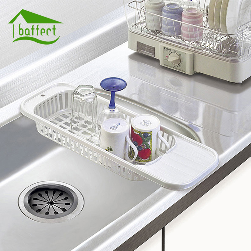 Kitchen Sink Rack Plastic Filter Plate Storage Rack Dish Cutlery Drainer  Drying Holder Fruits Cup Dish