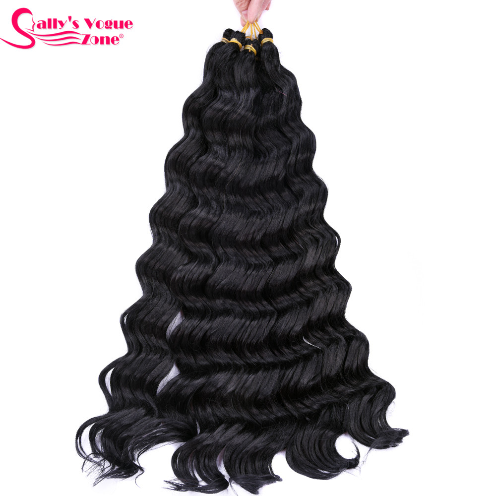 Sallyhair High Temperature Synthetic Deep Wave Twist Crochet Braids Black Color Bulk Hair Extension  (7)