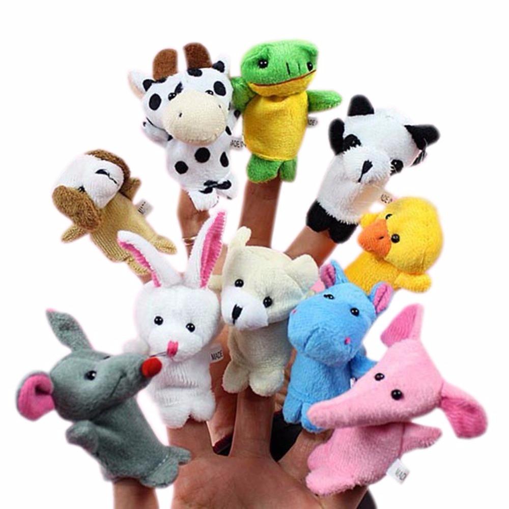 10x Cartoon Biological Animal Finger Puppet Plush Toys Child Baby Favor Dolls