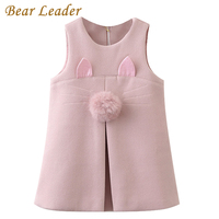 Bear Leader Girls Dress 2017 New Autumn Brand Girls Clothes Sleeveless Rabbit Ears With Fur Ball