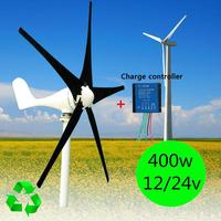 400W Wind Turbine Generator DC 12V 24V 5 Blade W Windmill Charge Controller