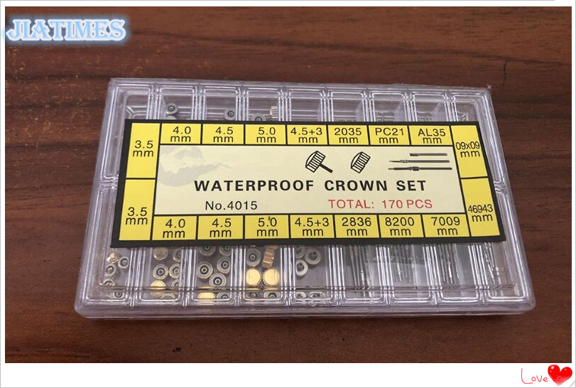 Assortment Of 170 PCs Stainless Steel Waterproof Crown Set And Watch Stem Set For Watch Repair