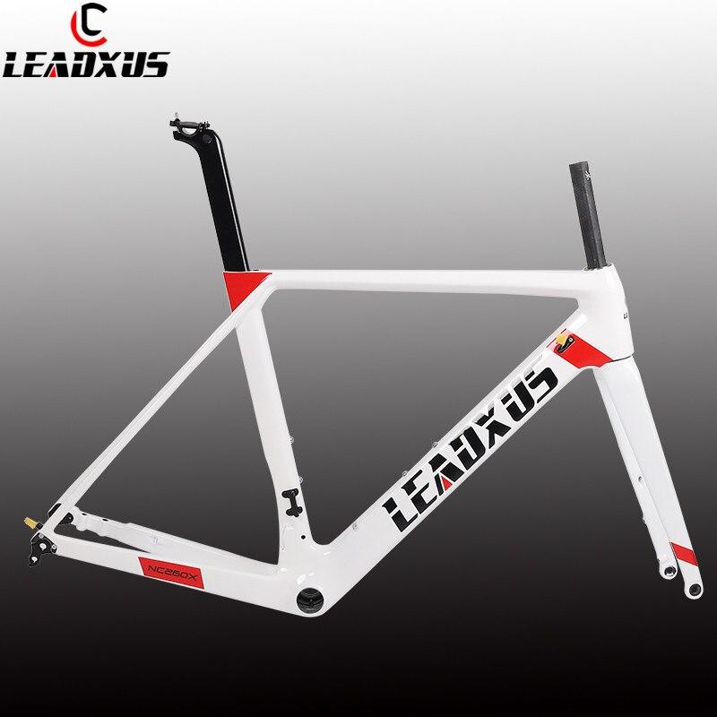 LEADXUS 2019 Newest Disc Brakes Carbon Road Bike Frame T800 Thru Axle Disc Brake Carbon Fiber Bicycle Frame XS/S/M/L/XL