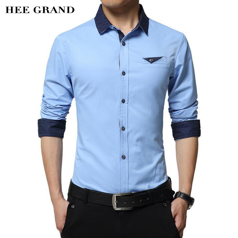 Men s Shirt 2017 New Arrival Casual Style Slim Fitted Cotton Material Spring Autumn Turn down